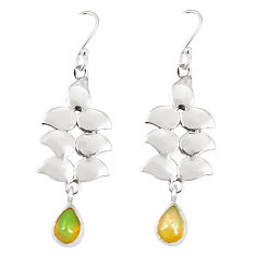 Natural multi color ethiopian opal 925 sterling silver snake earrings d23268