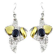 Clearance Sale- Victorian blue sapphire quartz 925 silver two tone dangle earrings jewelry d2330