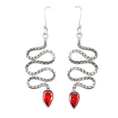 Clearance Sale- Natural red garnet 925 sterling silver snake earrings jewelry d23301