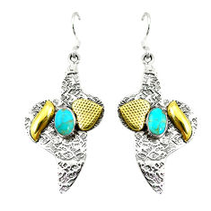 Clearance Sale-  turquoise two tone dangle earrings d2332