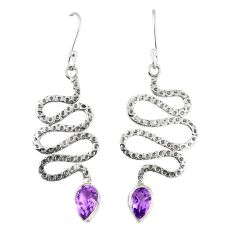 Clearance Sale- 925 sterling silver natural purple amethyst snake earrings jewelry d23324