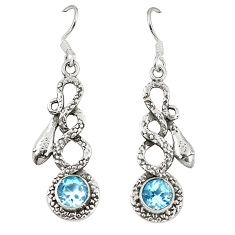 Natural blue topaz 925 sterling silver snake earrings jewelry d23339