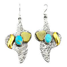 925 silver two tone dangle earrings d2335