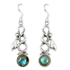 Clearance Sale- Natural blue labradorite 925 sterling silver snake earrings jewelry d23370