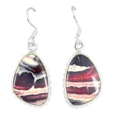 Natural grey porcelain jasper (sci fi) 925 silver dangle earrings d23591