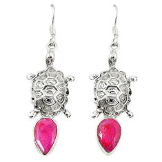Natural red ruby 925 sterling silver tortoise earrings jewelry d23608