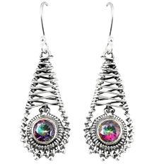 Multi color rainbow topaz 925 sterling silver dangle earrings jewelry d23614