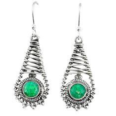 Green emerald quartz 925 sterling silver dangle earrings jewelry d23615