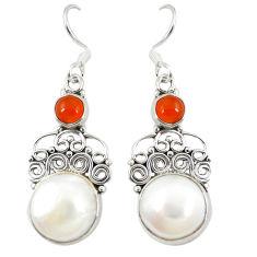 al white pearl cornelian (carnelian) dangle earrings d23626