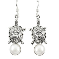 Clearance Sale- Natural white pearl 925 sterling silver tortoise earrings jewelry d23637