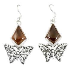 Brown smoky topaz 925 sterling silver butterfly earrings jewelry d23641