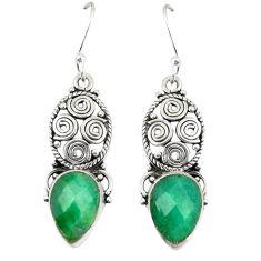 Green emerald quartz 925 sterling silver dangle earrings jewelry d23642