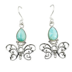 Clearance Sale- 925 sterling silver natural blue larimar butterfly earrings jewelry d23644