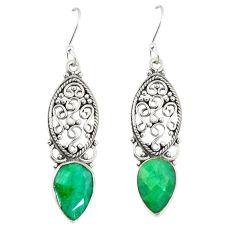 Green emerald quartz 925 sterling silver dangle earrings jewelry d23648