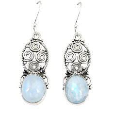 Natural rainbow moonstone 925 sterling silver dangle earrings jewelry d23663