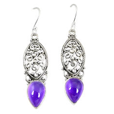 Clearance Sale- Natural purple amethyst 925 sterling silver dangle earrings d23666