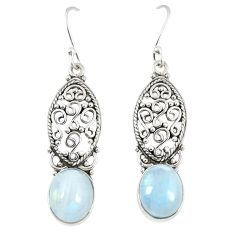 Natural rainbow moonstone 925 sterling silver dangle earrings jewelry d23673