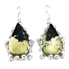 Golden pyrite in magnetite (healer's gold) 925 silver dangle earrings d2384
