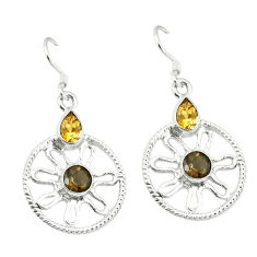 Clearance Sale- Brown smoky topaz yellow citrine 925 sterling silver dangle earrings d2420