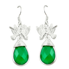 Clearance Sale- Natural green chalcedony 925 sterling silver love birds earrings d2439