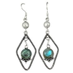 Clearance Sale- Natural blue labradorite pearl 925 sterling silver dangle earrings d2469