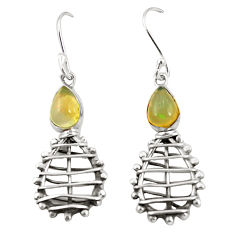 Clearance Sale- Natural multi color ethiopian opal 925 sterling silver earrings d25081