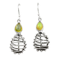 Natural multi color ethiopian opal 925 sterling silver earrings jewelry d25085