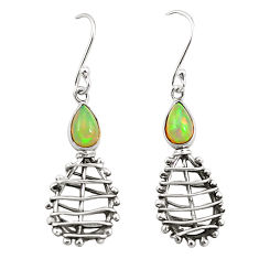 Clearance Sale- Natural multi color ethiopian opal 925 sterling silver earrings jewelry d25089