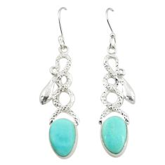 Clearance Sale- Natural blue larimar 925 sterling silver snake earrings jewelry d25101