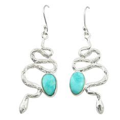 Clearance Sale- Natural blue larimar 925 sterling silver snake earrings jewelry d25106