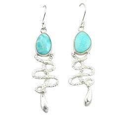Clearance Sale- Natural blue larimar 925 sterling silver snake earrings jewelry d25107