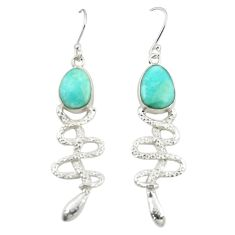 Clearance Sale- 925 sterling silver natural blue larimar snake earrings jewelry d25109