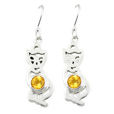 Clearance Sale- Natural yellow citrine 925 sterling silver dangle cat earrings d25151