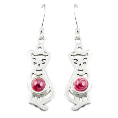 Clearance Sale- 925 sterling silver natural red garnet cat earrings jewelry d25159