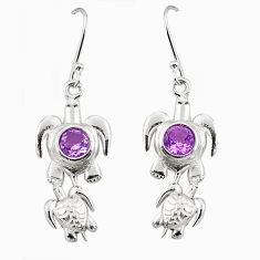 Natural purple amethyst 925 sterling silver tortoise earrings d25179