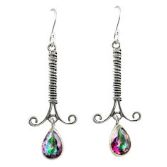Multi color rainbow topaz 925 sterling silver dangle earrings d25192