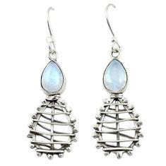 Natural rainbow moonstone 925 sterling silver dangle earrings d25194