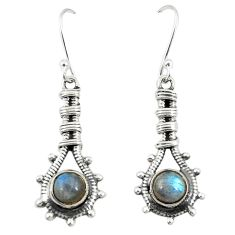 Clearance Sale- Natural blue labradorite 925 sterling silver dangle earrings d25195
