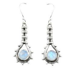 Clearance Sale- 925 sterling silver natural rainbow moonstone dangle earrings jewelry d25197