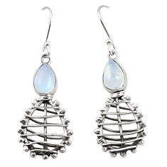 Natural rainbow moonstone 925 sterling silver dangle earrings d25202
