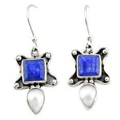 Natural blue sapphire white pearl 925 sterling silver dangle earrings d25221