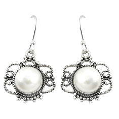 Clearance Sale- Natural white pearl 925 sterling silver dangle earrings jewelry d25222