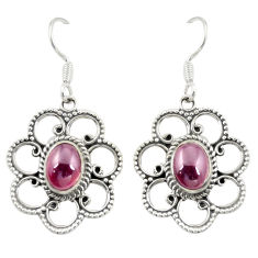 Natural red garnet 925 sterling silver dangle earrings jewelry d25231