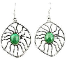 Clearance Sale- Natural green malachite (pilot's stone) 925 silver dangle earrings d25235