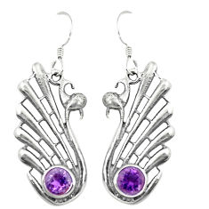 Natural purple amethyst 925 sterling silver dangle earrings d25237