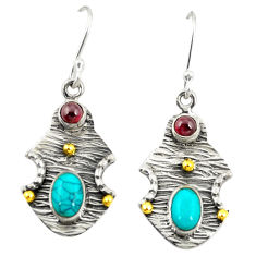 Clearance Sale- Victorian fine blue turquoise 925 silver two tone dangle earrings d25266