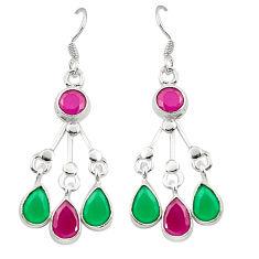 Clearance Sale- Red ruby green emerald quartz 925 silver dangle earrings d25284
