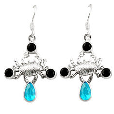 Natural blue topaz onyx 925 sterling silver crab earrings jewelry d25285