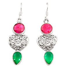 Red ruby green emerald quartz 925 silver dangle earrings d25292