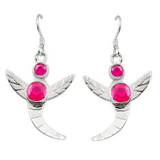 925 sterling silver natural red ruby dangle earrings jewelry d25300